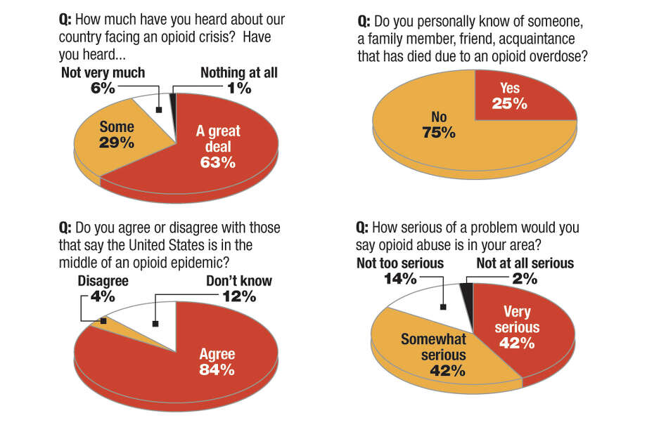 "Results from the Siena College Research Institute survey conducted in February 2018 as part of the ""Prescription for Progress: United against opioid addiction"" initiative. Photo: (Jeff Boyer / Times Union)"