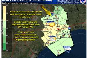 """Pea-sized"" hail was reported in Alvin late Saturday morning as a thunderstorm moved northeastward across Friendswood. A wind advisory is also in effect until 6 p.m. for the Houston and Galveston region, the National Weather Service in Houston said."