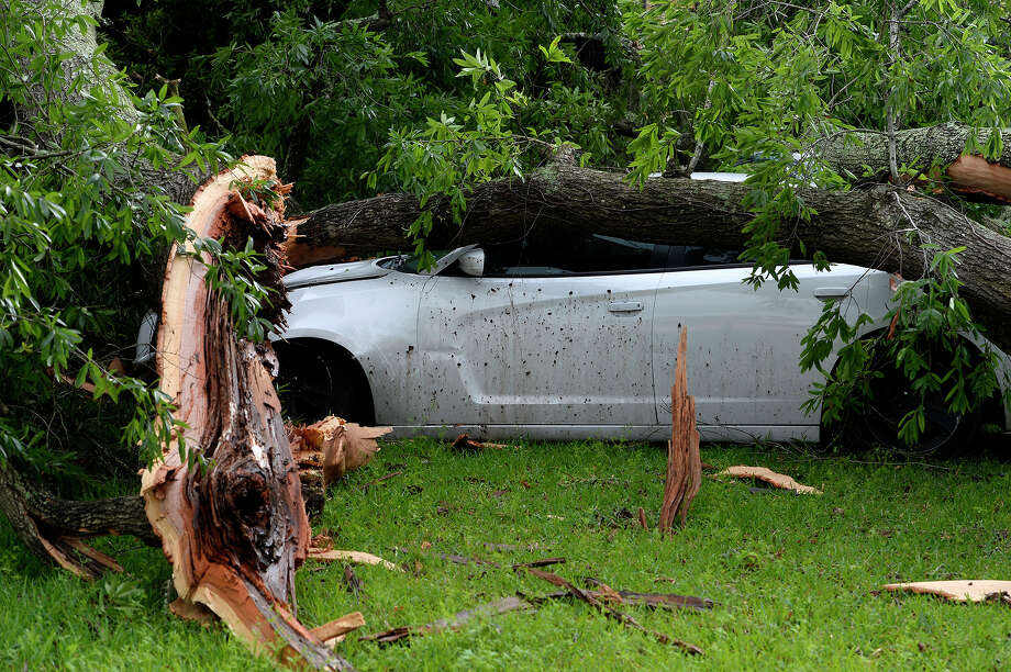A tree fell on a car and house near the Lamar University campus during a possible tornado. Photo taken Saturday 4/14/18 Ryan Pelham/The Enterprise Photo: Ryan Pelham, Ryan Pelham/The Enterprise / ©2018 The Beaumont Enterprise/Ryan Pelham