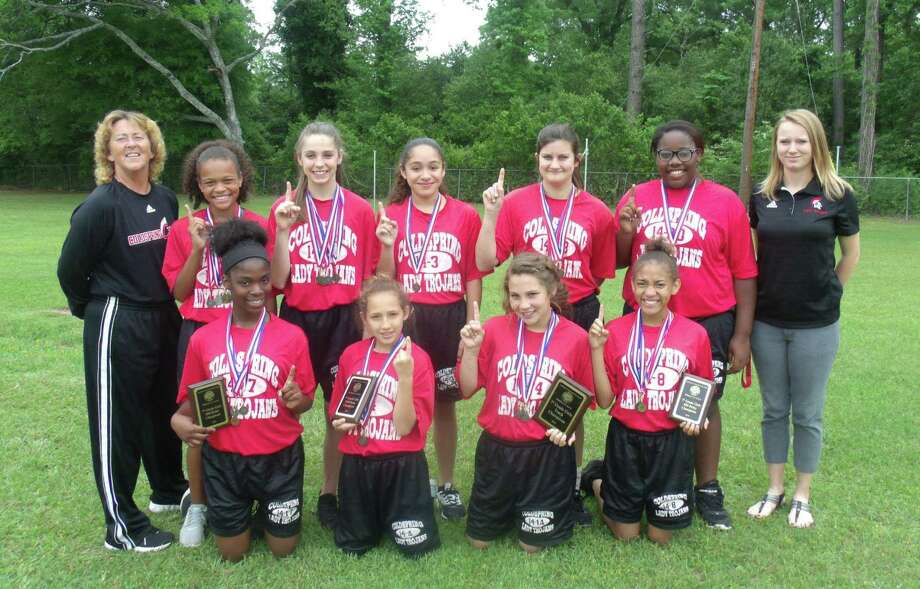 The Coldspring-Oakhurst seventh-grade girls track team finished the season as district champs. Pictured are (front row, left to right) I'Kira Byrd, Natalynn Ramirez, Kylie Currie, Miya Ellis; (back row) Coach Rita Bass, Makayla Rice, Taylor Buchanan, Mariela Martinez, Alexis Copeland, Kaliyah Traylor and Coach Alyssa Marshall.  Not pictured is  Coach Meredith Null Photo: Submitted / Submitted
