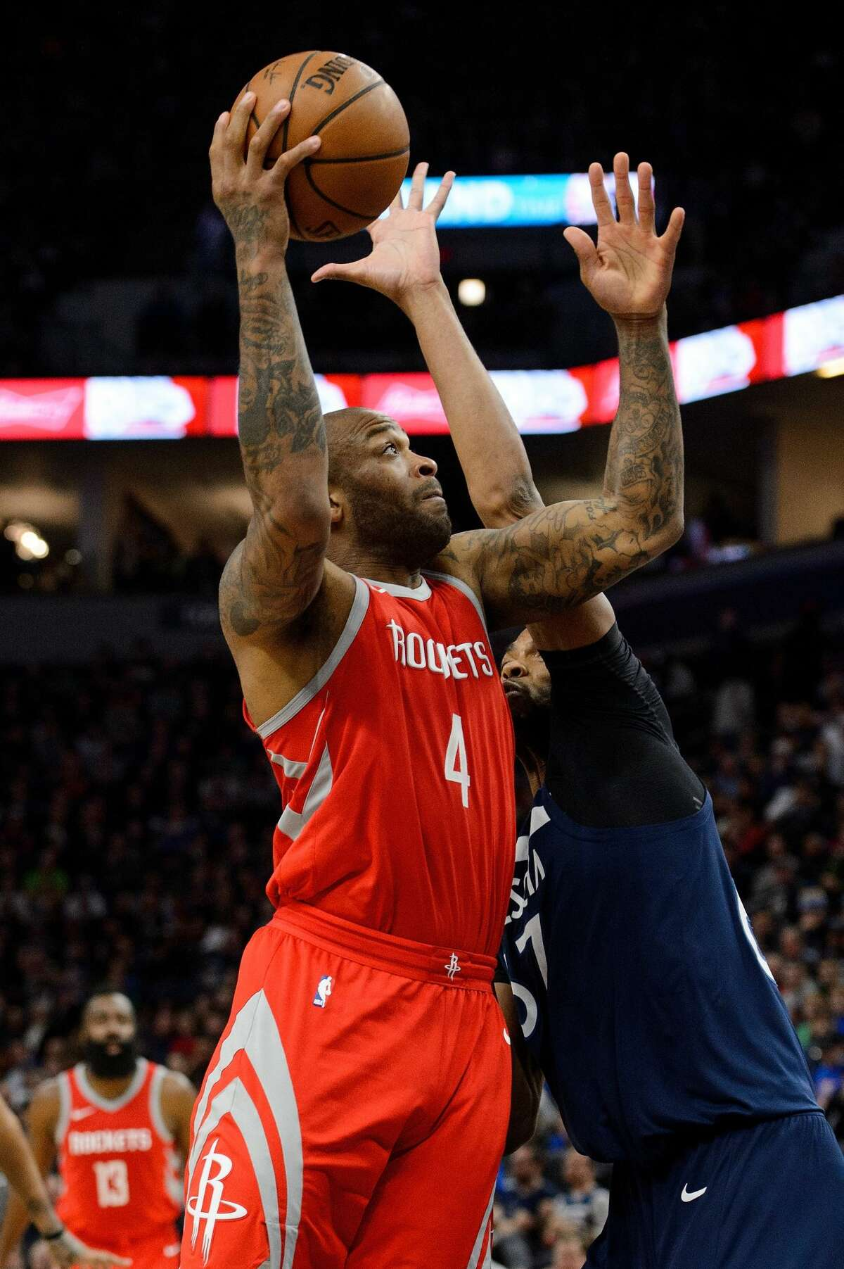 Forwards P.J. Tucker does not post up often, if ever, and Taj Gibson does not work one-on-one inside often, but it would be fun to see the hand-to-hand combat against another if those occasions do occur. Tucker's impact defensively is so great in part because of his ability to switch on everyone from Jeff Teague to Karl-Anthony Towns. He has made 55.6 percent of his 3s against the Timberwolves, but will take on an even greater role if Ryan Anderson does not play with the Wolves often giving up pick-and-pop 3-pointers to protect the lane. Trevor Ariza's play also becomes more crucial because of an injury with Luc Mbah a Moute out. The Wolves' Andrew Wiggins can be an x factor. Wiggins struggled badly in the first two meetings with the Rockets, but was more effective in the latter two games. Gibson's stellar interior defense is less of a factor against a team that takes him out to the 3-point line. Edge: Even. The Wolves should have the edge with Wiggins, but the 3-point shooting of Tucker and Ariza tend to negate that. Gibson is an outstanding finisher in the lane, averaging 8.5 points against the Rockets, one fewer than Tucker has against the Wolves.