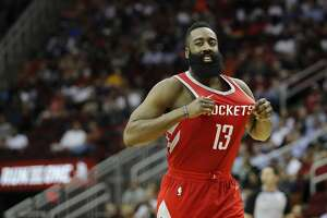 HOUSTON, TX - APRIL 03:  James Harden #13 of the Houston Rockets celebrates after a three-point shot in the second half against the Washington Wizards at Toyota Center on April 3, 2018 in Houston, Texas.  NOTE TO USER: User expressly acknowledges and agrees that, by downloading and or using this Photograph, user is consenting to the terms and conditions of the Getty Images License Agreement.  (Photo by Tim Warner/Getty Images)