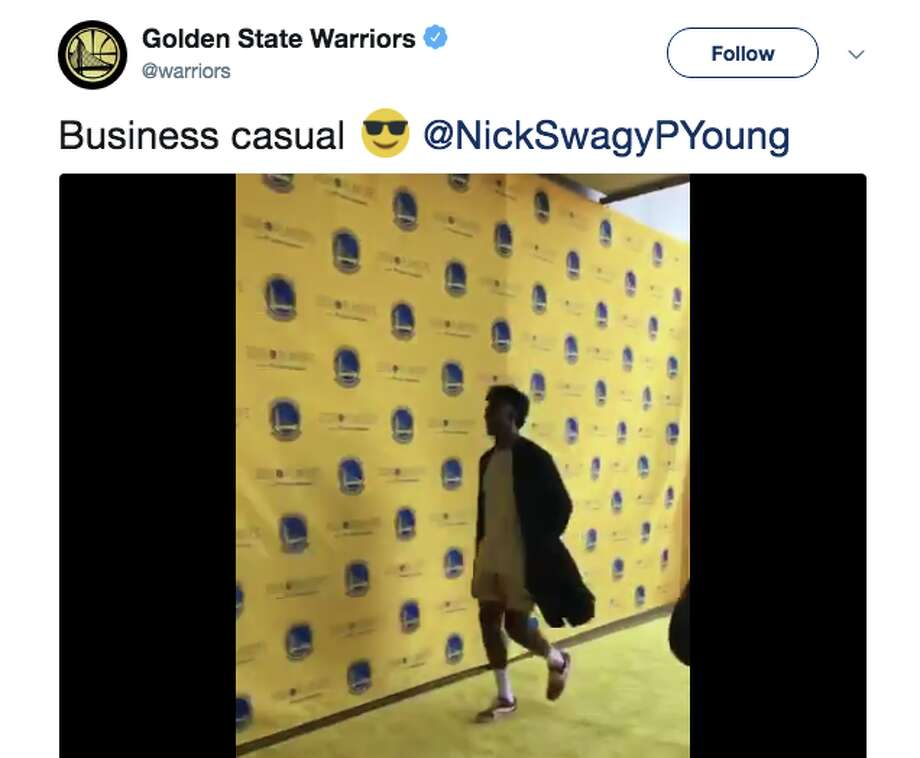 Nick Young showed up to Game 1 wearing only a silk robe and no pants. Photo: Twitter