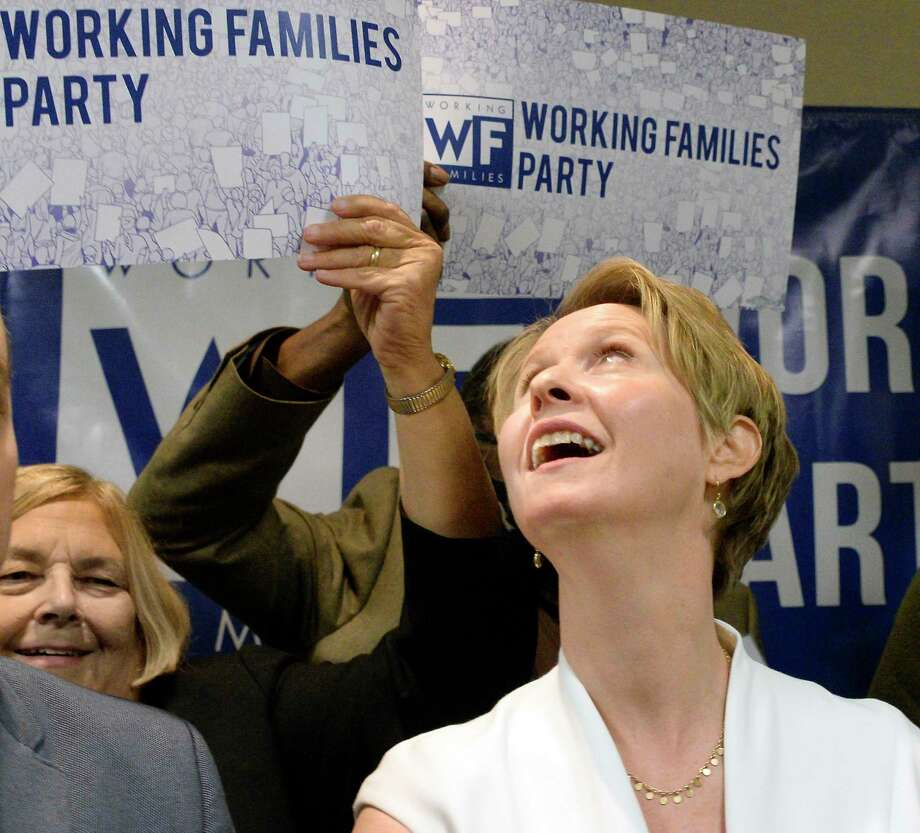 Cynthia Nixon receives the Working Families Party endorsement for Governor at their conference Saturday April 14, 2017 in Albany, NY.  (John Carl D'Annibale/Times Union) Photo: John Carl D'Annibale, Albany Times Union / 20043499A
