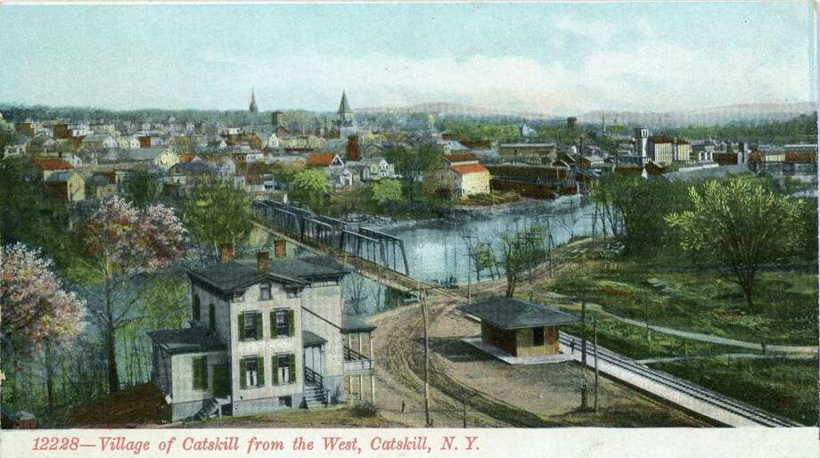 Post card from the Greene County Historical Society collection shows an old view of Catskill from the west. (Submitted)