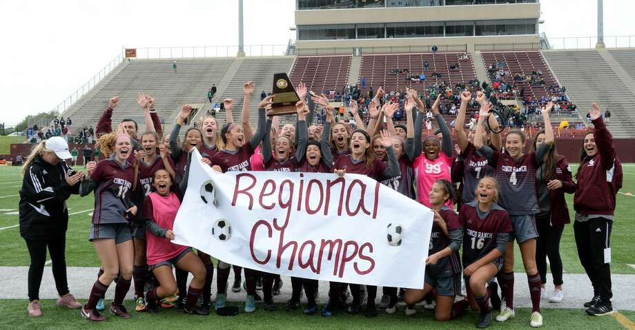 The Cinco Ranch Cougars celebrate their 3-0 victory over the Tompkins Falcons to capture the 6A-III regional championship on Saturday, April 14, 2018 at Abshier Stadium, Deer Park, TX. Photo: Craig Moseley/Houston Chronicle
