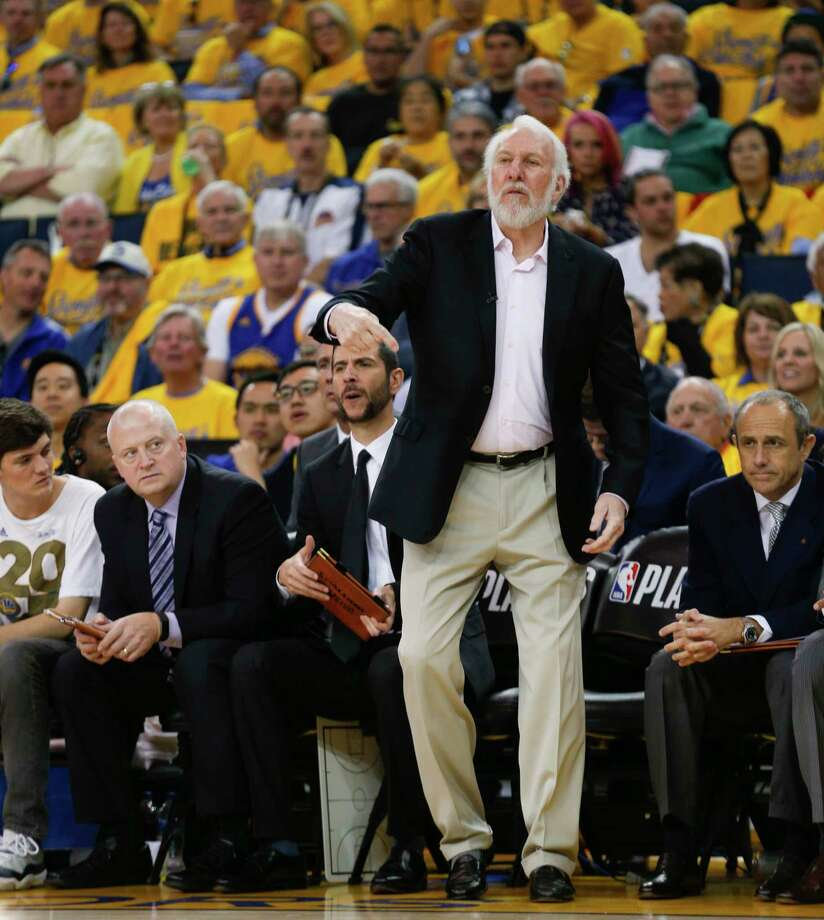 San Antonio Spurs' head coach Gregg Popovich is seen during game 1 of round 1 of the Western Conference Finals at Oracle Arena on Saturday, April 14, 2018 in Oakland, Calif. Photo: Santiago Mejia, The Chronicle / online_yes