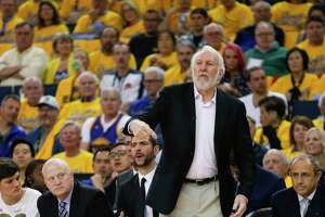 San Antonio Spurs' head coach Gregg Popovich is seen during game 1 of round 1 of the Western Conference Finals at Oracle Arena on Saturday, April 14, 2018 in Oakland, Calif.