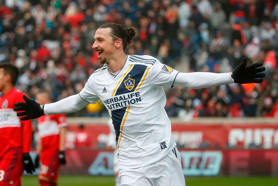 Former Bracelona, Paris St. Germain and Manchester United star Zlatan Ibrahimovic scored his third goal in as many games for his new team, the Los Angeles Galaxy, on Saturday. Photo: Kamil Krzaczynski / AFP / Getty Images