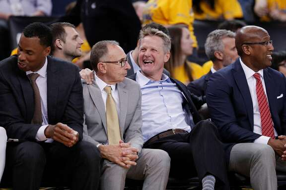 Golden State Warriors' head coach Steve Kerr is seen in the fourth quarter during game 1 of round 1 of the Western Conference Finals at Oracle Arena on Saturday, April 14, 2018 in Oakland, Calif.