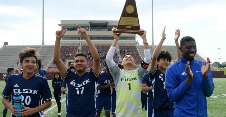 The Elsik Rams celebrate their 2-1 victory over the Strake Jesuit Crusaders for the 6A-III regional championship on Saturday, April 14, 2018 at Abshier Stadium, Deer Park, TX.