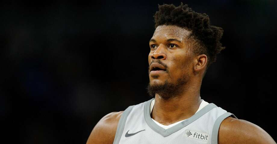 MINNEAPOLIS, MN - APRIL 11: Jimmy Butler #23 of the Minnesota Timberwolves looks on during the third quarter of the game against the Denver Nuggets on April 11, 2018 at the Target Center in Minneapolis, Minnesota. The Timberwolves defeated the Nuggets 112-106. NOTE TO USER: User expressly acknowledges and agrees that, by downloading and or using this Photograph, user is consenting to the terms and conditions of the Getty Images License Agreement. (Photo by Hannah Foslien/Getty Images) Photo: Hannah Foslien/Getty Images