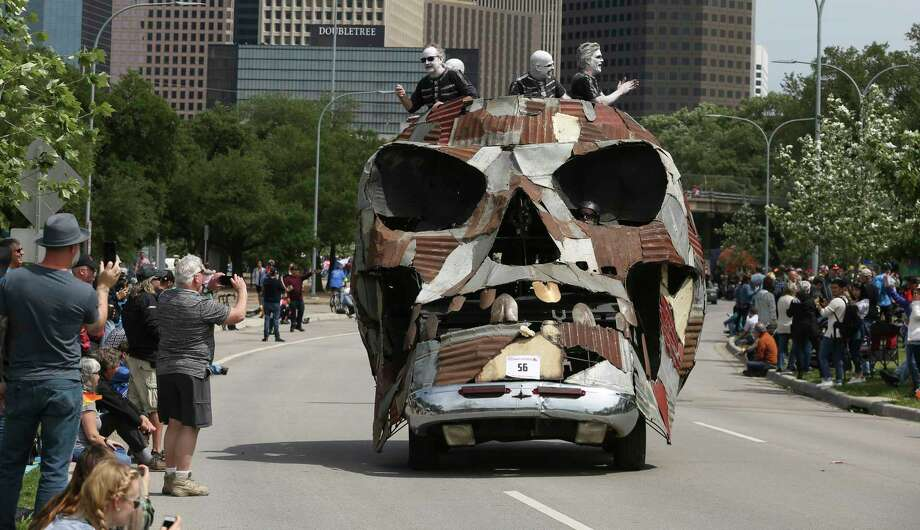 "The ""MetaCarSkul"" art car participates in the 31st Annual Houston Art Car Parade on Allen Parkway on Saturday, April 14, 2018, in Houston. More than 250 art cars participated in the 2018 parade. Photo: Yi-Chin Lee, Houston Chronicle / © 2018 Houston Chronicle"