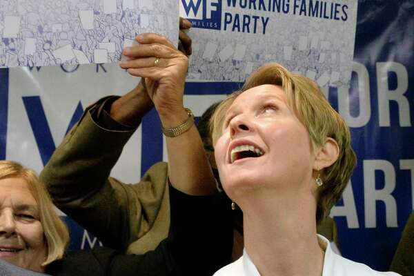 Cynthia Nixon receives the Working Families Party endorsement for Governor at their conference Saturday April 14, 2017 in Albany, NY.  (John Carl D'Annibale/Times Union)
