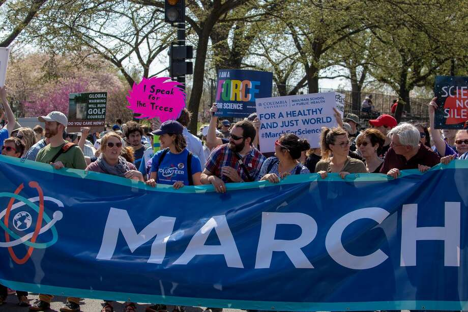 WASHINGTON, DC - APRIL 14:  People take part in the March For Science after a rally on the National Mall on April 14, 2018 in Washington, DC.  This is the second annual march advocating for evidence-based policy decisions from elected officials. (Photo by Tasos Katopodis/Getty Images) Photo: Tasos Katopodis/Getty Images