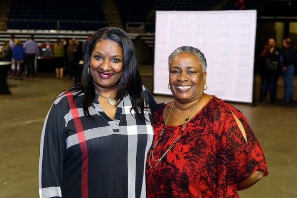 Monica Pier and Cheryl Andrepont at the Greater Beaumont Chamber of Commerce's Lobsterfest at Ford Park.  Photo taken Saturday 4/14/18 Ryan Pelham/The Enterprise