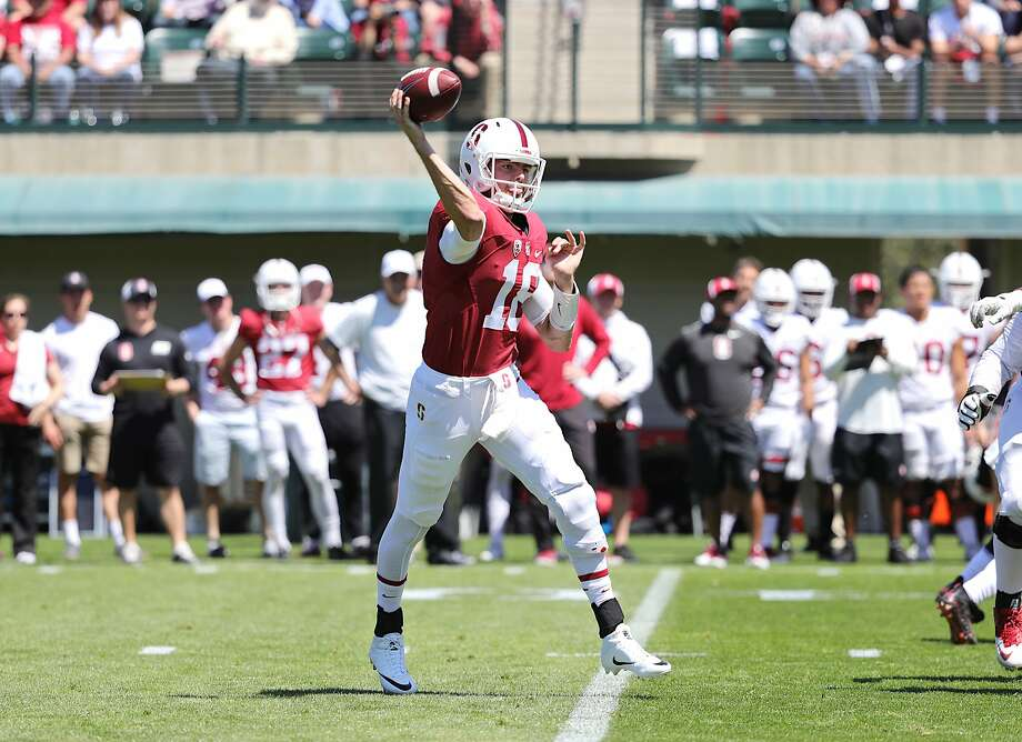 Quarterback Jack Richardson throws a pass during Stanford's spring game at Cagan Stadium. Photo: Bob Drebin / ISI Photos