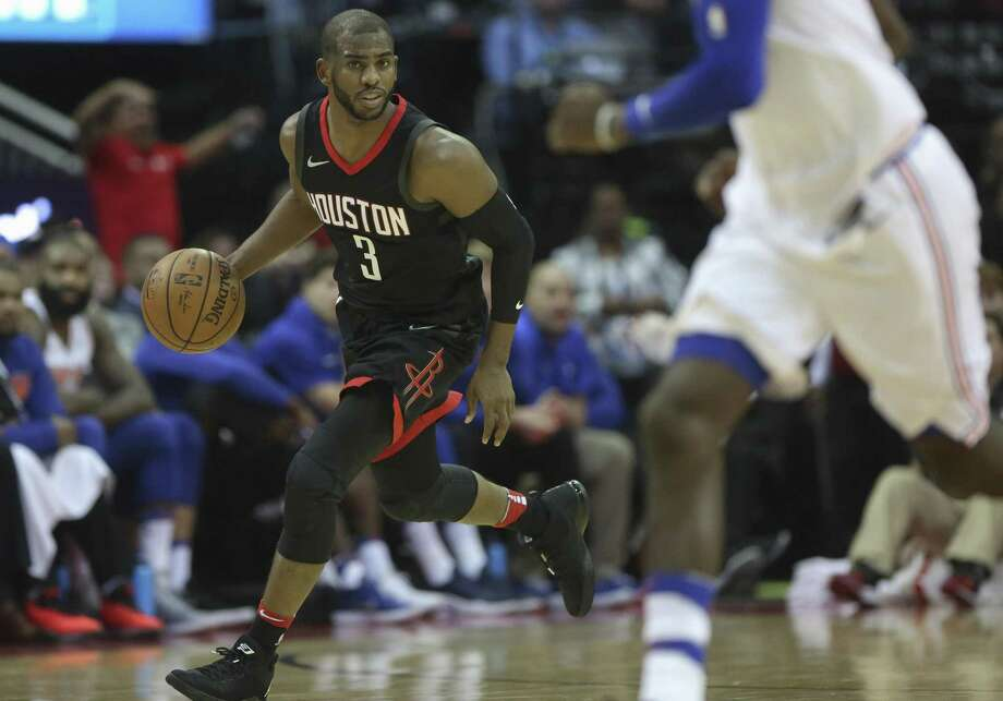 Chris Paul, left, gave the Rockets a two-headed monster at guard this season alongside James Harden. Paul played in 58 games, averaging 18.6 points on 46 percent shooting from the floor. Photo: Yi-Chin Lee, Houston Chronicle / Houston Chronicle / © 2017  Houston Chronicle