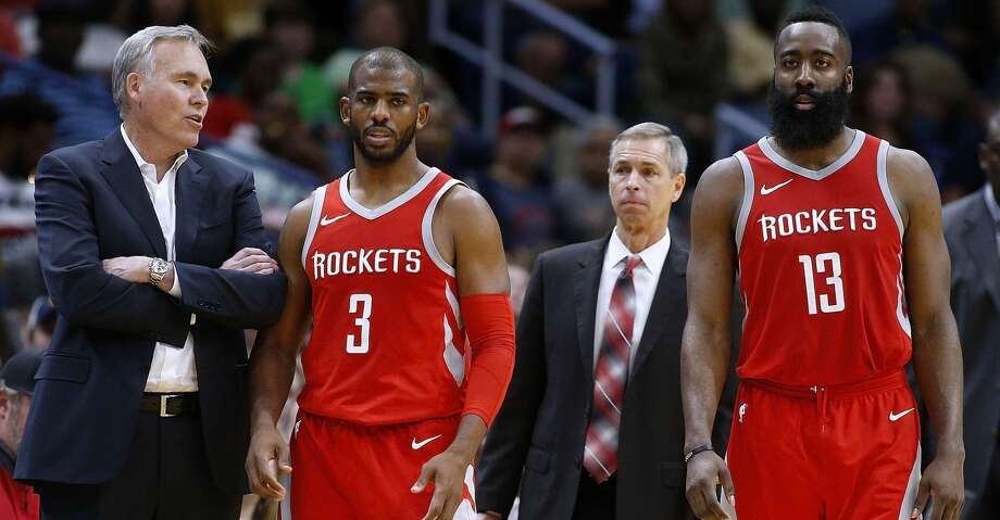 NEW ORLEANS, LA - MARCH 17:  Head coach Mike D'Antoni of the Houston Rockets, James Harden #13 and Chris Paul #3 talk during the second half against the New Orleans Pelicans at the Smoothie King Center on March 17, 2018 in New Orleans, Louisiana. NOTE TO USER: User expressly acknowledges and agrees that, by downloading and or using this photograph, User is consenting to the terms and conditions of the Getty Images License Agreement.  (Photo by Jonathan Bachman/Getty Images) Photo: Jonathan Bachman/Getty Images