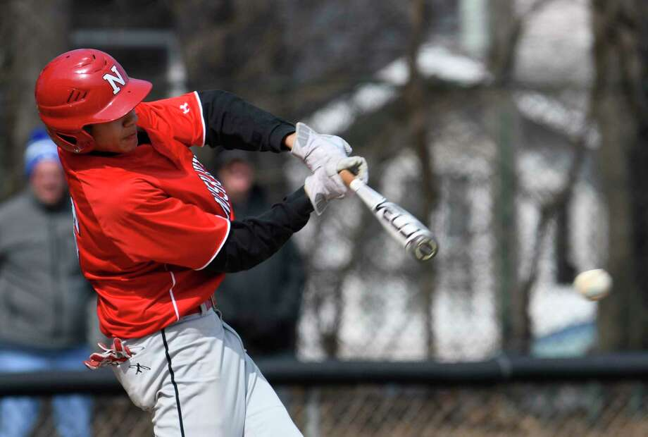 Niskayuna catcher Aaron Whitley hits a single during a game against Albany Academy in Albany, N.Y., on Saturday, Apr. 14, 2018. (Jenn March, Special to the Times Union) Photo: Jenn March / © Jenn March 2018 © Albany Times Union 2018
