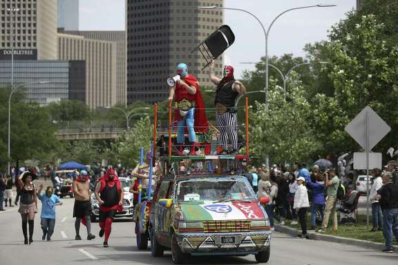 "The ""Luchamobile"" art car participates in the 31st Annual Houston Art Car Parade on Allen Parkway on Saturday, April 14, 2018, in Houston. More than 250 art cars participated in this year's parade. ( Yi-Chin Lee / Houston Chronicle )"