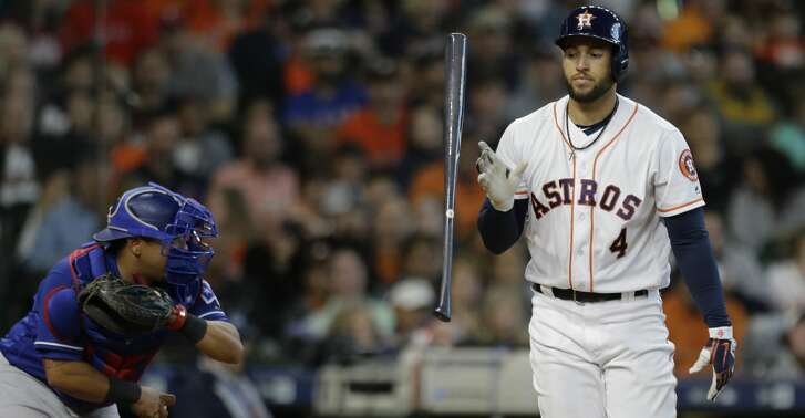 Houston Astros George Springer flips his bat after being called out on strikes against the Texas Rangers during the seventh inning of game at Minute Maid Park Saturday, April 14, 2018, in Houston. ( Melissa Phillip / Houston Chronicle )