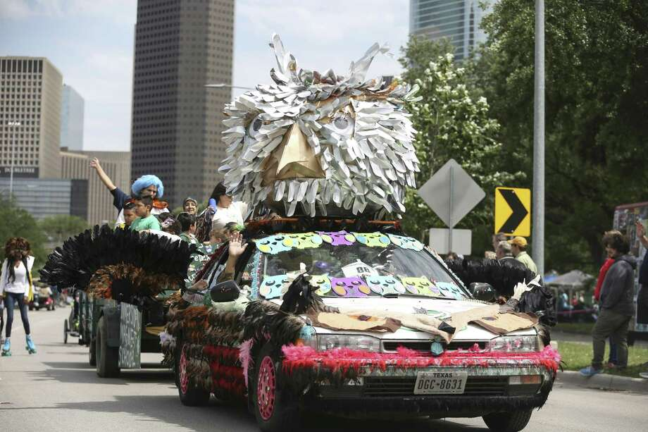 "The Arabic Immersion School's car ""Bouma, the global flying owl"" participates in the 31st Annual Houston Art Car Parade on Allen Parkway on Saturday, April 14, 2018, in Houston. More than 250 art cars participated in this year's parade. ( Yi-Chin Lee / Houston Chronicle ) Photo: Yi-Chin Lee / Houston Chronicle / © 2018 Houston Chronicle"
