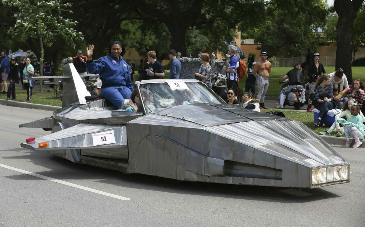 The 31st Annual Houston Art Car Parade Grand Marshal Dr. Jeanette Epps, of NASA, rides in