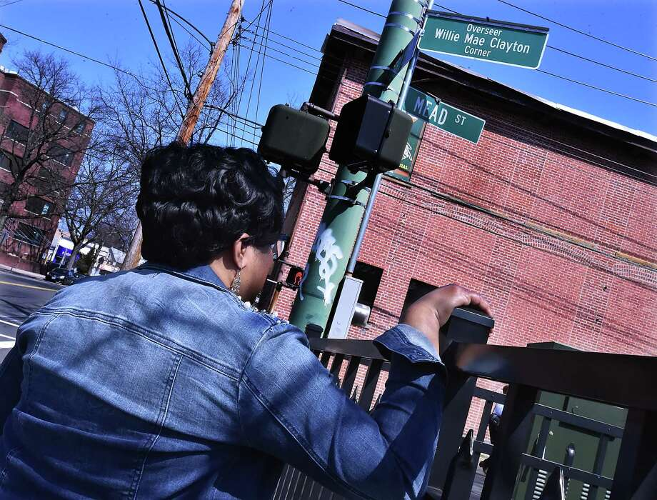 The corner at Derby Avenue and Mead Street designated as the Overseer Willie May Clayton Corner, Saturday, April 14, 2018. Photo: Catherine Avalone, Hearst Connecticut Media / New Haven Register