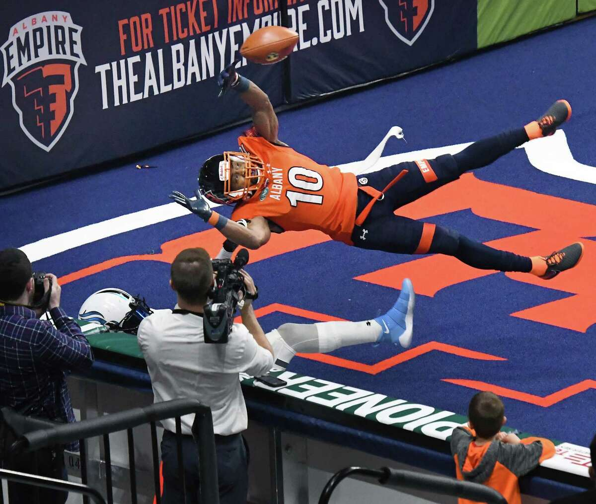 Varmah Sonie, shown breaking up a pass in a 2018 Empire game, is returning to Albany after signing a contract Monday, July 19, 2021, with the National Arena League team. (John Carl D'Annibale/Times Union)