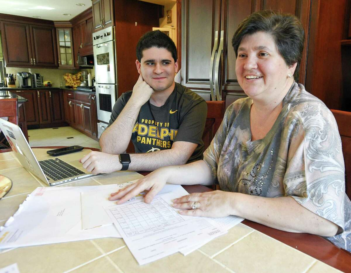 Michael Schiro and his mother Mary, are photographed at their family home on April 11, 2018 in Stamford, Connecticut. Schiro, who has Autism, is preparing to go off to Adelphi University on Long Island in the fall.