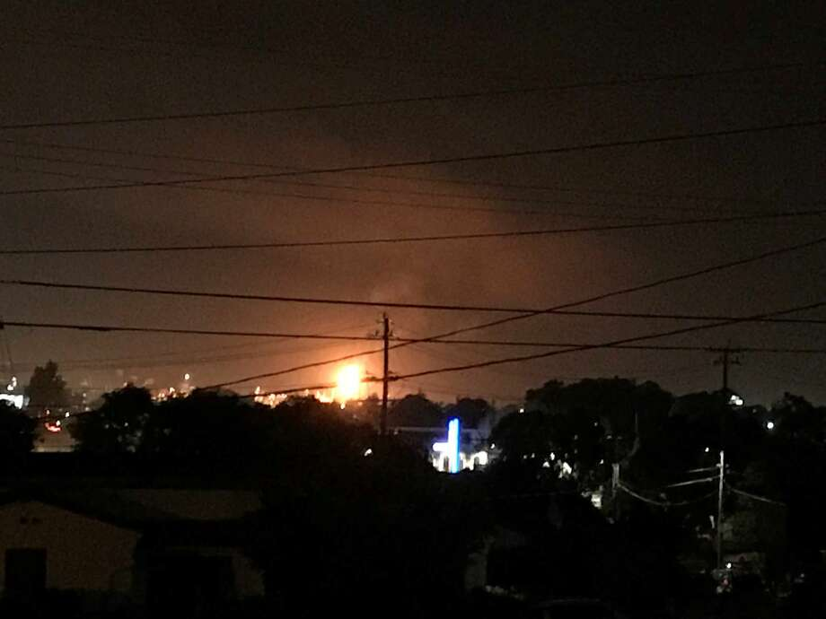 Flaring at the Chevron refinery in Richmond lit up the night sky Saturday, April 14th. This photo taken from the East Bay hills shows how the orange flames climbing high above the plant. Photo: SFGATE