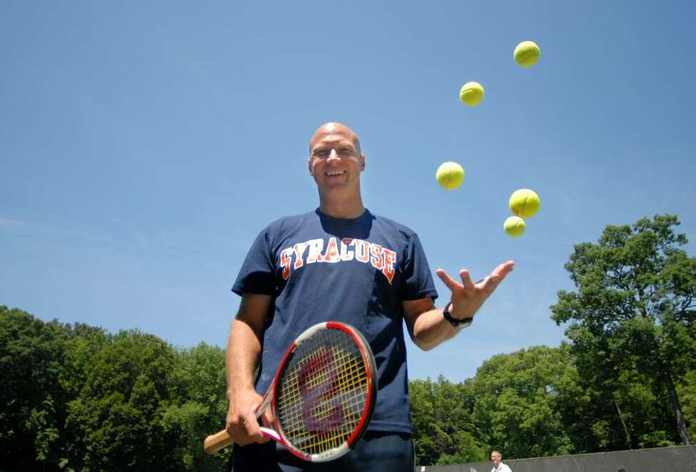 Tennis player Luke Jensen during one of his clinics at the Colonie Country Club. (Kayla Galway / Times Union)