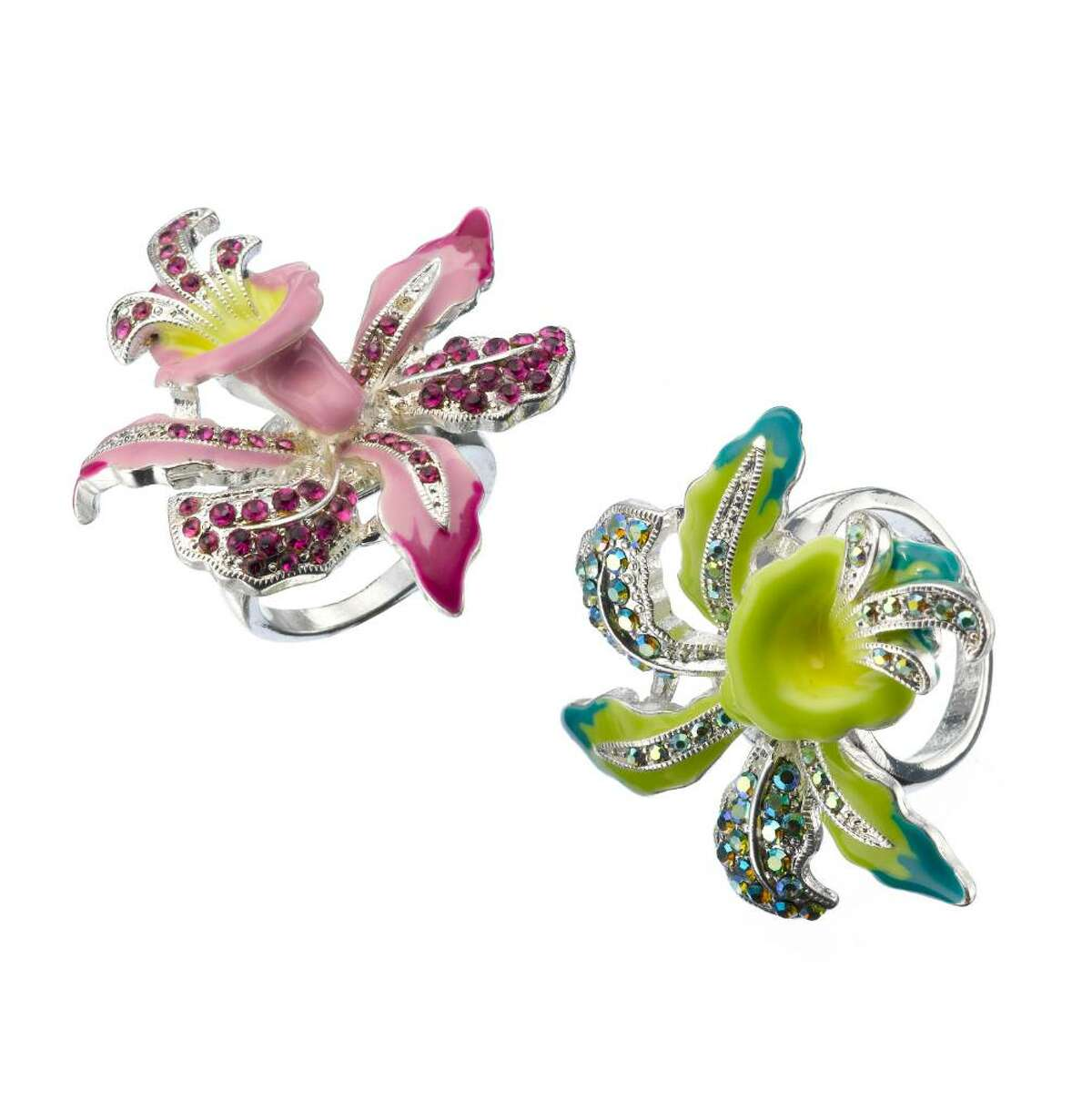 Decorative pins, such as these from Macy?s, are an easy way to add chartreuse to your wardrobe. (Macy's)