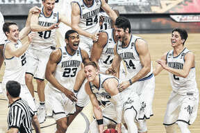 Villanova celebrates beating Michigan 79-62 the NCAA National Championship game April 2 in San Antonio, Texas.