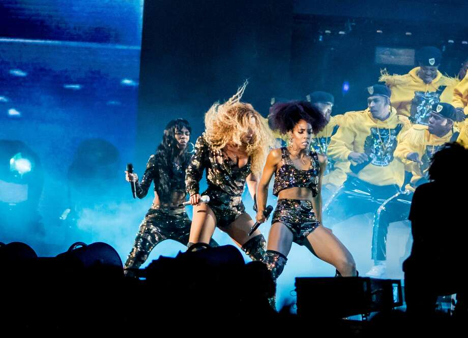 Beyonce performs with the original members of Destiny's Child Saturday during the Coachella Music and Arts Festival in Indio, California, April 14, 2018. Photo: KYLE GRILLOT/AFP/Getty Images