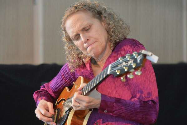 Guitaist, composer and recording artist Mimi Fox plays jazz guitar with the Mimi Fox Duo with bassist Mike Asetta during The Wilton Library Hot & Cool Jazz at The Brubeck Room music series on Sunday April 15, 2018 in Wilton Conn.
