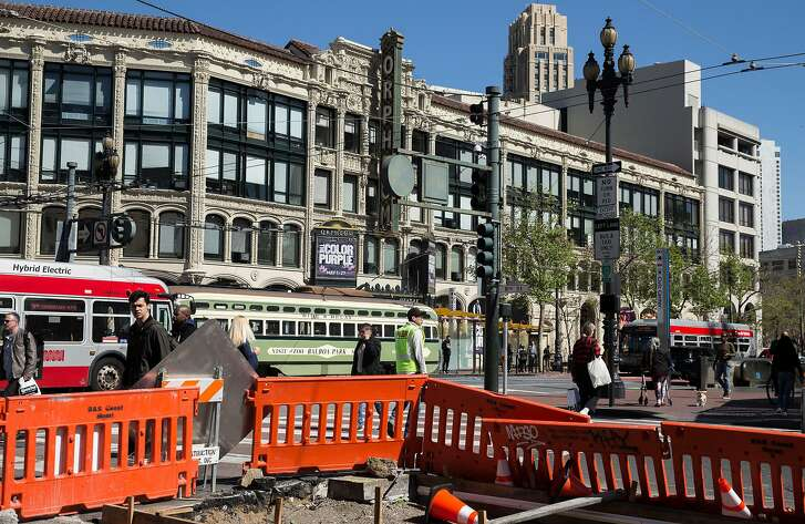Construction continues on the corner of Market and 8th streetsFriday, April 13, 2018 in San Francisco, Calif.