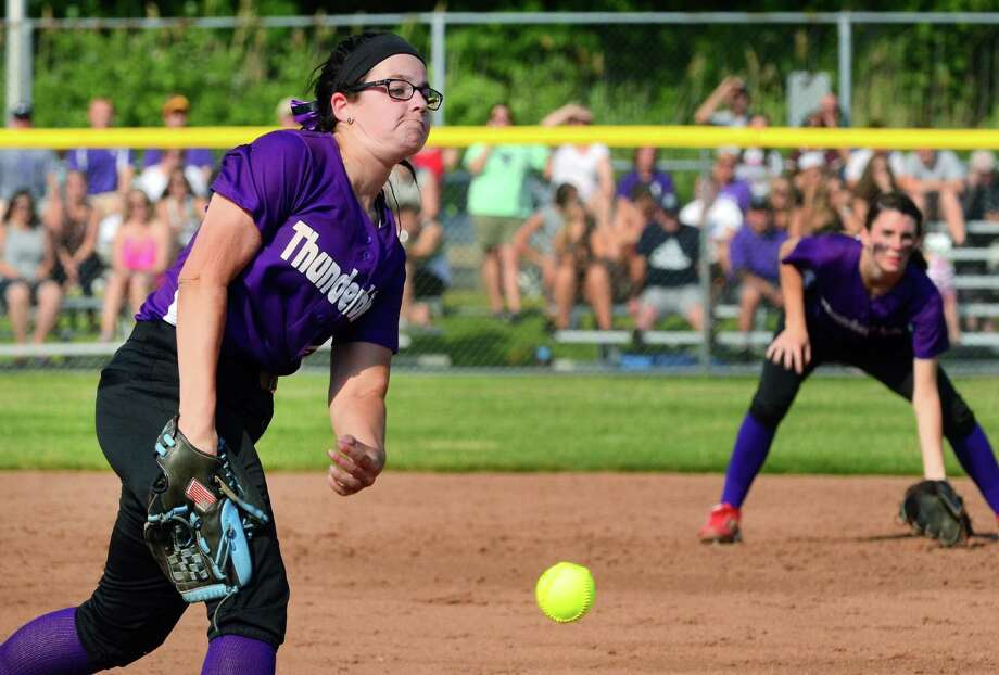 North Branford's Sydney Senerchia pitches against Seymour during last season's Class M final action on June 10 in West Haven. Photo: Christian Abraham / Hearst Connecticut Media / Connecticut Post