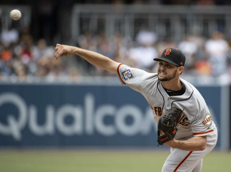 San Francisco Giants starting pitcher Tyler Beede throws a pitch during the first inning of a baseball game against the San Diego Padres in San Diego, Sunday, April, 15, 2018. (AP Photo/Kyusung Gong) Photo: Kyusung Gong, Associated Press