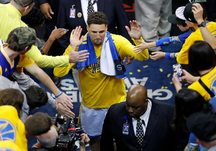 Golden State Warriors' Klay Thompson leaves the court after Warriors' 113-92 win over San Antonio Spurs in Game 1 of NBA Western Conference First Round playoff game at Oracle Arena in Oakland, Calif., on Saturday, April 14, 2018. Photo: Scott Strazzante / The Chronicle