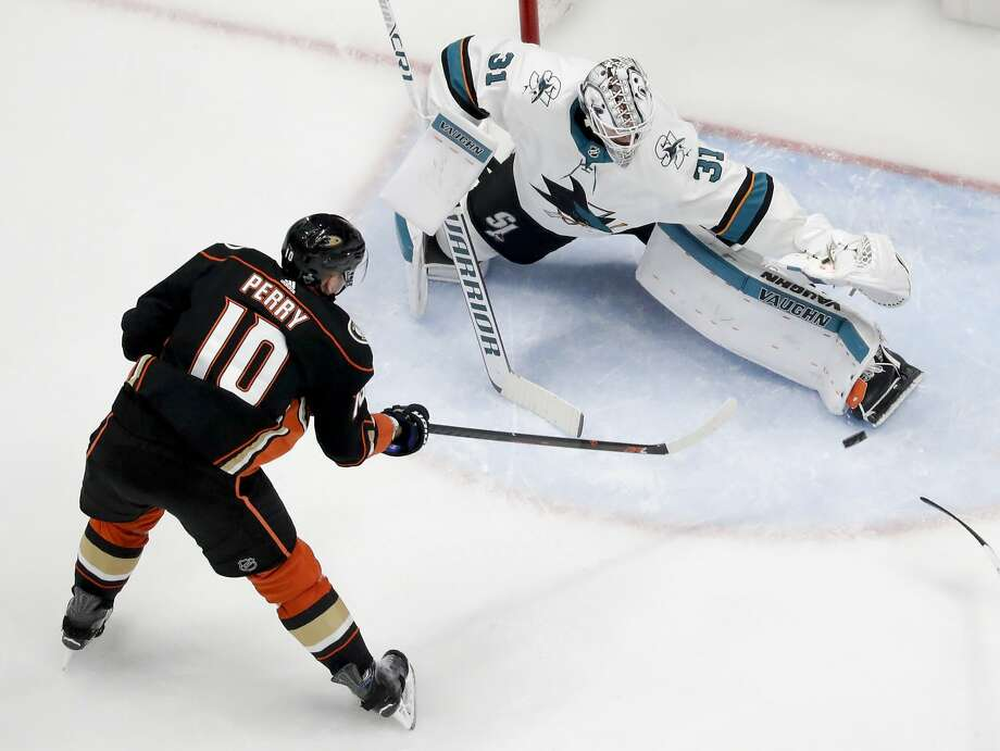 San Jose Sharks goaltender Martin Jones blocks a shot by Anaheim Ducks' Corey Perry during the second period of Game 2 in an NHL hockey first-round playoff series in Anaheim, Calif., Saturday, April 14, 2018. (AP Photo/Chris Carlson) Photo: Chris Carlson / Associated Press