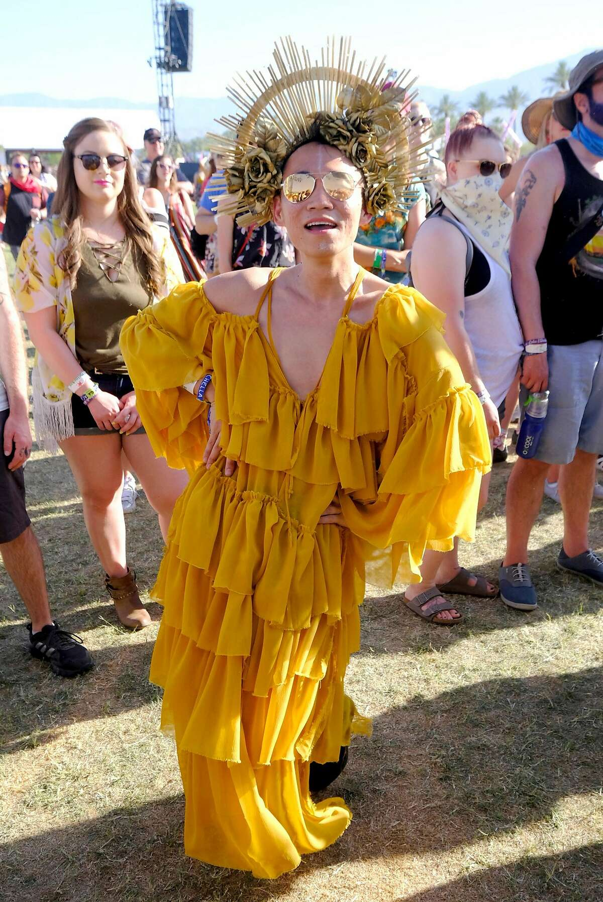 Festivalgoer attends 2018 Coachella Valley Music And Arts Festival Weekend 1 at the Empire Polo Field on April 14, 2018 in Indio, California.