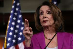WASHINGTON, DC - APRIL 12:  House Minority Leader Nancy Pelosi (D-CA) answers questions during her weekly press conference at the U.S. Capitol April 12, 2018 in Washington, DC. Pelosi answered a range of questions related primarily to Robert Mueller's investigation of Russian meddling in the 2016 U.S. presidential election.  (Photo by Win McNamee/Getty Images)