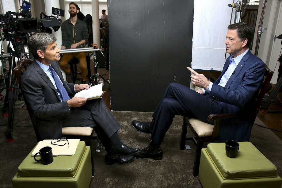 "In this image released by ABC News, correspondent George Stephanopoulos, left, appears with former FBI director James Comey for a taped interview that will air during a primetime ""20/20"" special on Sunday, April 15, 2018 on the ABC Television Network. Comey's book, ""A Higher Loyalty: Truth, Lies, and Leadership,"" will be released on Tuesday. (Ralph Alswang/ABC via AP) Photo: Ralph Alswang, Associated Press"