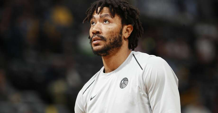 Minnesota Timberwolves guard Derrick Rose (25) in the first half of an NBA basketball game Thursday, April 5, 2018, in Denver. (AP Photo/David Zalubowski) Photo: David Zalubowski/Associated Press