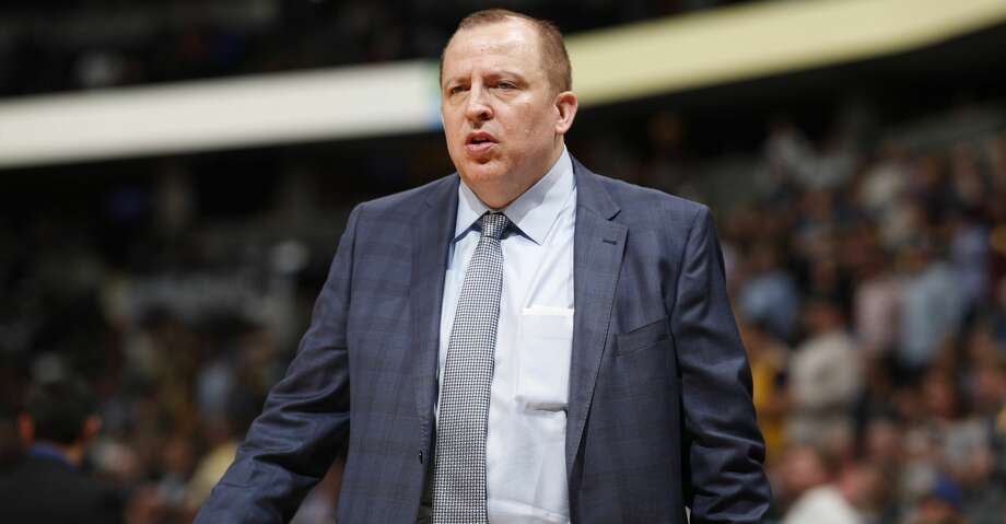 Minnesota Timberwolves head coach Tom Thibodeau in the second half of an NBA basketball game Thursday, April 5, 2018, in Denver. The Nuggets won 100-96. (AP Photo/David Zalubowski) Photo: David Zalubowski/Associated Press