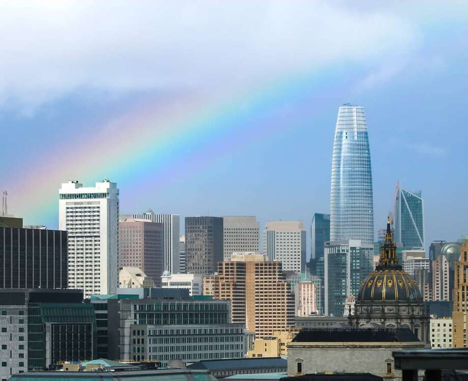 Bay Area locals shared photos of Sunday's rainbow to social media which appeared after a bout of rain hit the area. Photo: @cyrilbphotos / Instagram