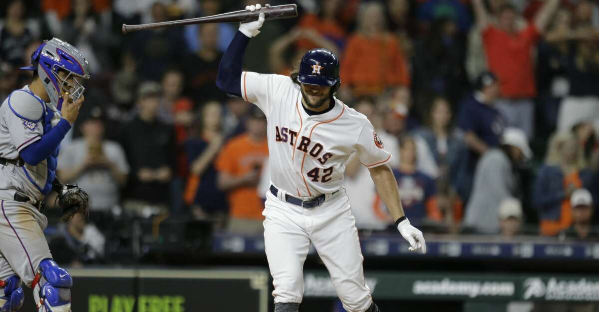 PHOTOS: A look at the Astros' win over the Angels on Tuesday night Strikeouts have been a problem for Jake Marisnick, who throws his bat after fanning in the 10th inning to end a loss to the Rangers at Minute Maid Park on April 15.