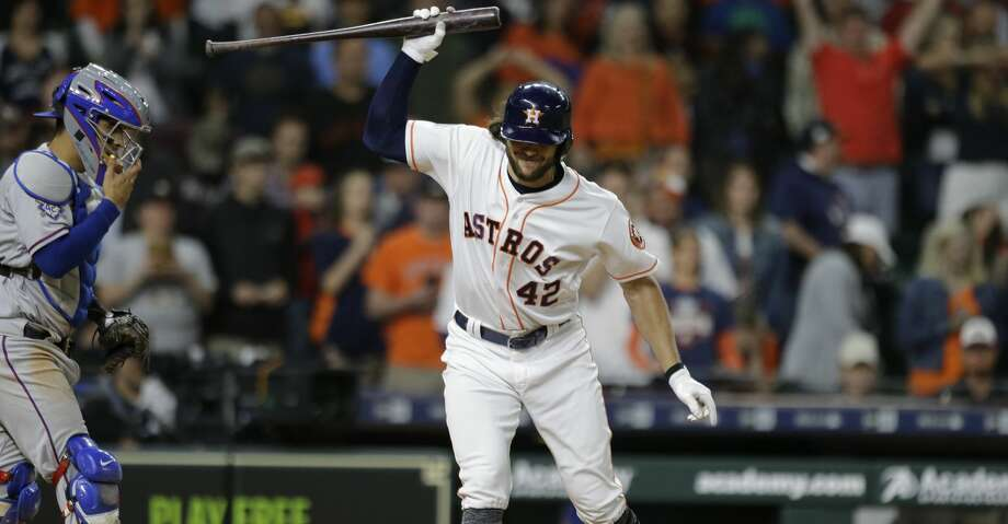 Houston Astros Jake Marisnick throws his bat after striking out swinging against the Texas Rangers during the tenth inning to end game at Minute Maid Park Sunday, April 15, 2018, in Houston. ( Melissa Phillip / Houston Chronicle ) Photo: Melissa Phillip/Houston Chronicle